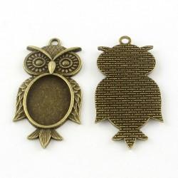5 x Owl pendant tray Bezel...