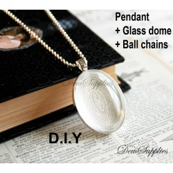 10 x DIY oval pendant kit...